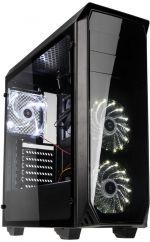 Caixa ATX Kolink Luminosity Preto LED Branco Painel Acrílico