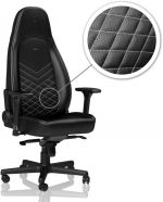 Cadeira noblechairs ICON PU Leather Preto / Branco Platina